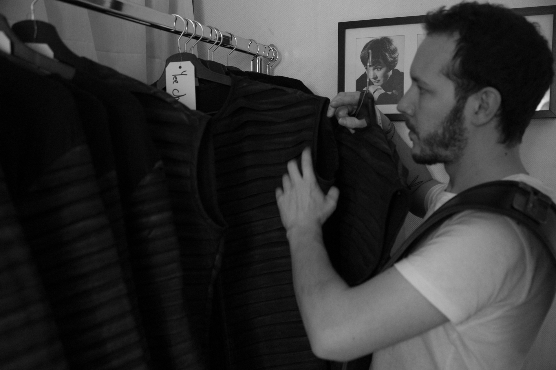 Antoine Inspects a range of his Under tunics before Dispatch